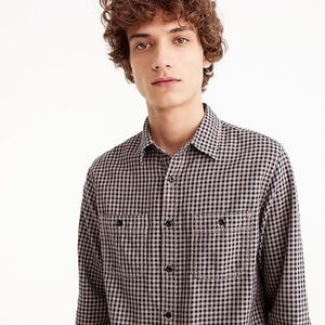 NWT J. Crew Slim midweight flannel shirt in brown